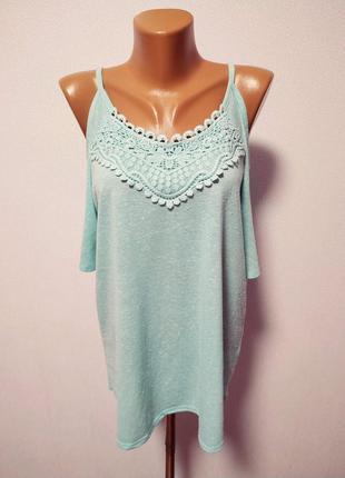 Блуза с кружевами голые плечики (вырезы на плечах) / большая распродажа!