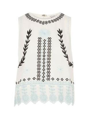 Блуза с завязками на спинке с вышивкой / большая распродажа!