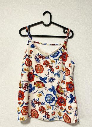 Белая блуза с яркими цветами / большая распродажа!
