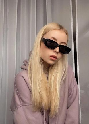 Крутые солнцезащитные очки узкие черные прямоугольные ретро окуляри сонцезахисні чорні