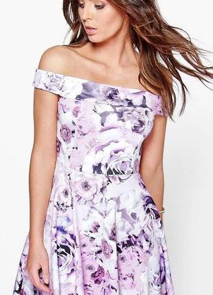 Брендовое платье с открытыми спущенными плечами boohoo великобритания принт цветы этикетка