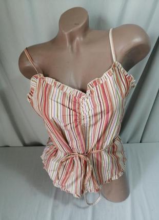 Натуральная блуза принт полоска2 фото