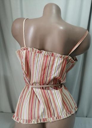 Натуральная блуза принт полоска3 фото