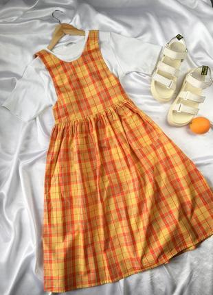 Сарафан в клетку миди винтажное платье с завязками на пуговицах корейский