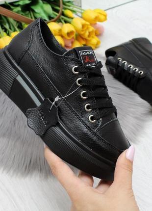 Женские крипперы кроссовки из натуральной кожи чёрные