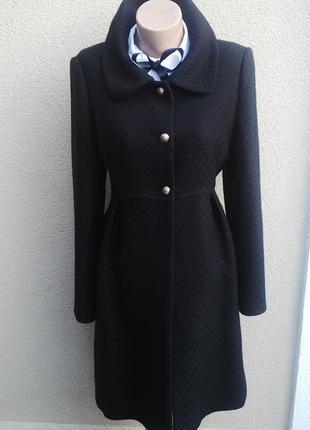 Красивое,черное, шерстяное,фактурное пальто с внутренними карманами по бокам next