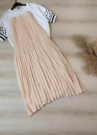 Плиссированная юбка макси пудровая mint&berry p xs-s