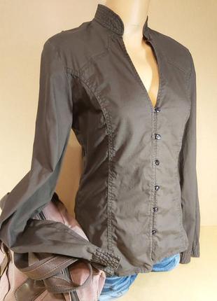Приталенная женская рубашка mexx. темная хлопковая рубашка mexx. рубашка длинный рукав