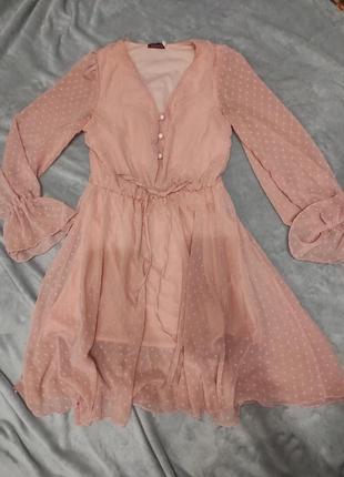 Платье шифоновое вечернее нежное розовое в горошек