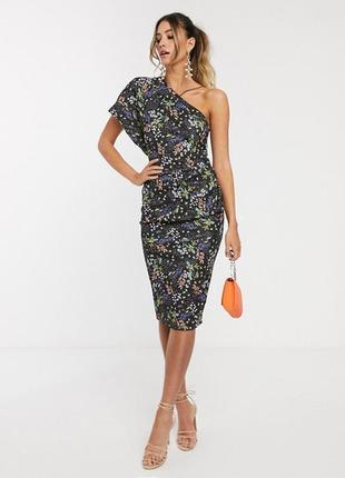 Распродажа платье миди на одно плечо с темным цветочным принтом asos