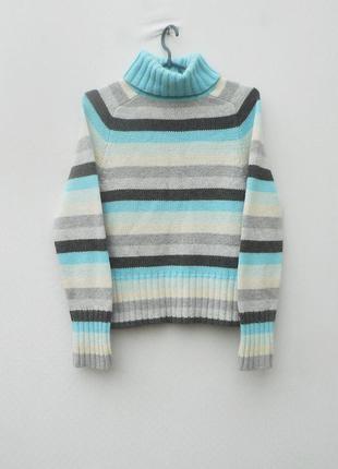 Теплый мягкий вязаный свитер реглан с воротником с длинным рукавом