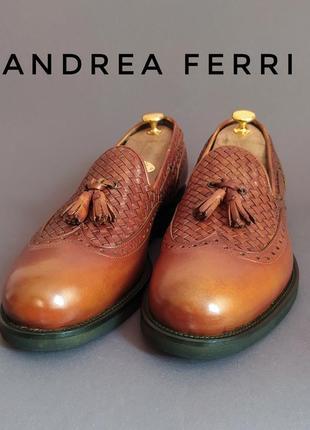Туфли тассел-лоферы плетеные andrea ferri италия