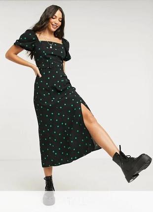 Распродажа натуральное платье new look миди в горошек с поясом с asos