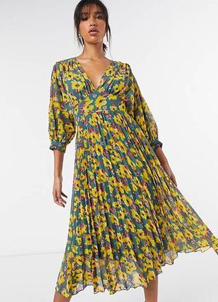 Роскошное шифоновое платье плиссе от asos! в цветы! люкс!