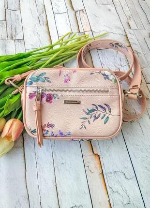 Сумка мини, кроссбоди розовая david jones в цветах экокожа