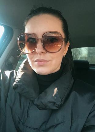 Большие круглые очки солнцезащитные ретро светлые коричневые новые окуляри круглі3 фото