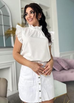 Блуза блузка женская нарядная на выход с рюшами легкая лето батал