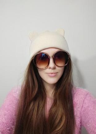 Большие круглые очки солнцезащитные ретро светлые коричневые новые окуляри круглі4 фото