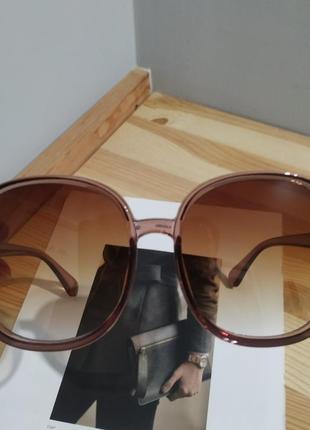 Большие круглые очки солнцезащитные ретро светлые коричневые новые окуляри круглі5 фото