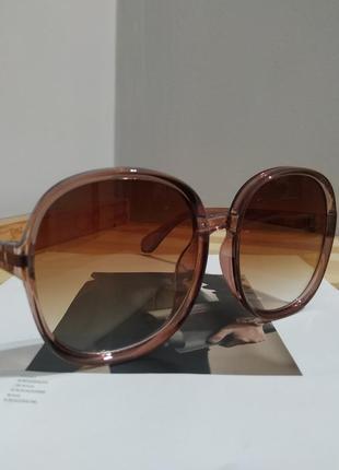 Большие круглые очки солнцезащитные ретро светлые коричневые новые окуляри круглі6 фото