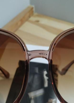 Большие круглые очки солнцезащитные ретро светлые коричневые новые окуляри круглі9 фото