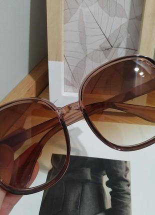 Большие круглые очки солнцезащитные ретро светлые коричневые новые окуляри круглі8 фото