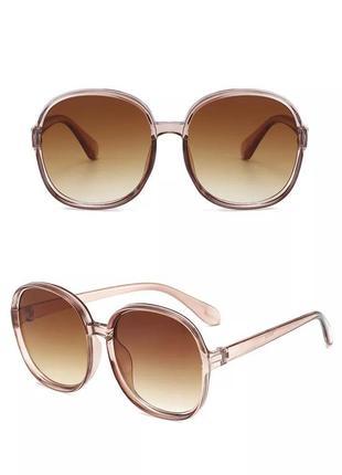 Большие круглые очки солнцезащитные ретро светлые коричневые новые окуляри круглі1 фото