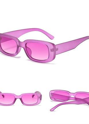 Тренд розовые солнцезащитные очки узкие новые прямоугольные ретро окуляри сонцезахисні рожеві5 фото