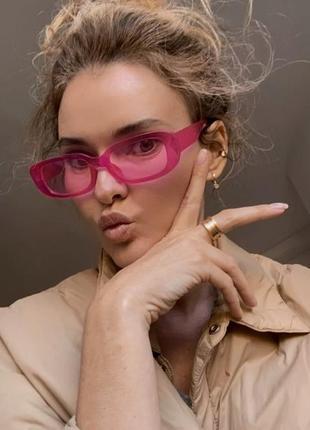 Тренд розовые солнцезащитные очки узкие новые прямоугольные ретро окуляри сонцезахисні рожеві1 фото