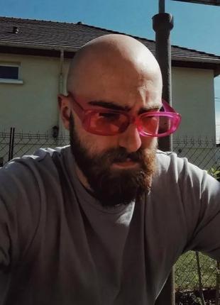 Тренд розовые солнцезащитные очки узкие новые прямоугольные ретро окуляри сонцезахисні рожеві4 фото