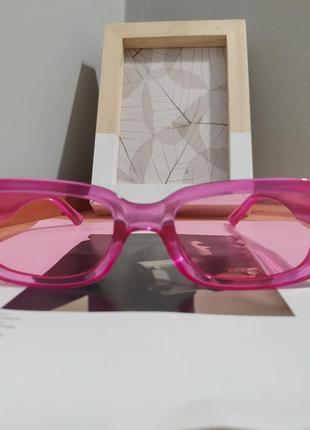 Тренд розовые солнцезащитные очки узкие новые прямоугольные ретро окуляри сонцезахисні рожеві6 фото