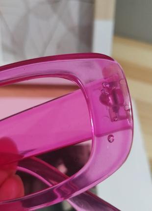 Тренд розовые солнцезащитные очки узкие новые прямоугольные ретро окуляри сонцезахисні рожеві10 фото