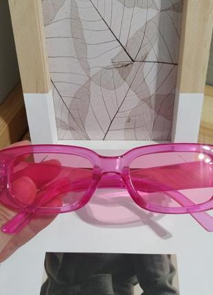 Тренд розовые солнцезащитные очки узкие новые прямоугольные ретро окуляри сонцезахисні рожеві8 фото
