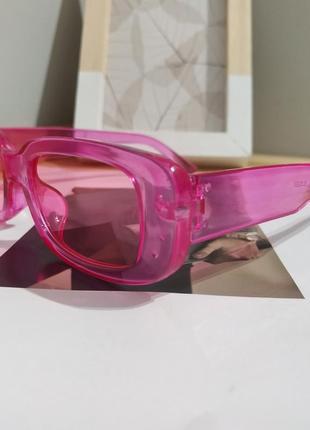 Тренд розовые солнцезащитные очки узкие новые прямоугольные ретро окуляри сонцезахисні рожеві7 фото