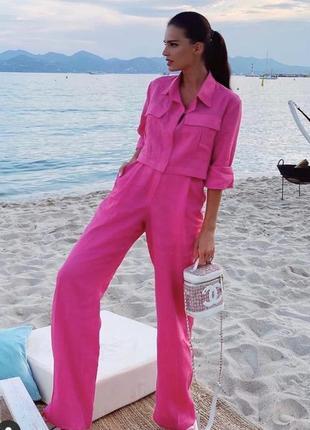 Льняной стильный розовый  костюм лён натуральный