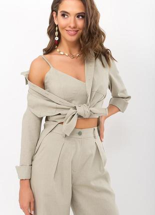 Оливковая рубашка из льна   46905