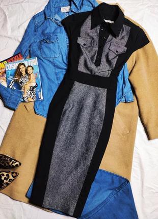 Karen millen платье чёрное серое под пояс миди классическое карандаш футляр на заклёпках