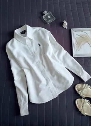 Базовая белая рубашка ralph lauren (100% хлопок)