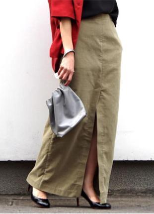 Юбка  длинная натуральная ткань хаки бренд.