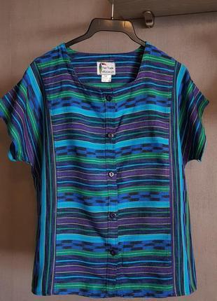 Яркая красочная натуральная рубашка блузка  el tucan, швейцария, ручная работа