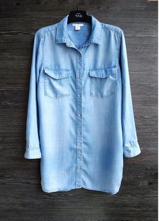 Длинная джинсовая рубашка h&m.