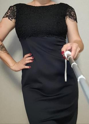 Нарядное платье миди, платье - футляр с кружевным верхом 10-12/m-l размер