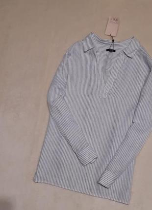 Новая с биркой льняная блузка в полоску v-образный вырез длинный рукав батал большой р 24-26 nydj.