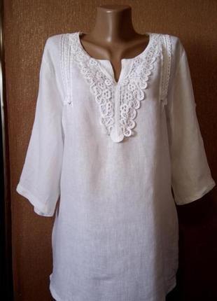 Белая льняная блузка с кружевом пояс-завязками регулируемый 3/4 рукав 100% лён размер 16-18 италия