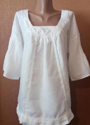Белая льняная блузка лён короткий при собранный рукав размер 10-12 part two