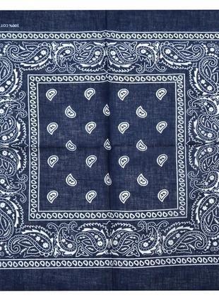 Синяя бандана классика косынка повязка для волос