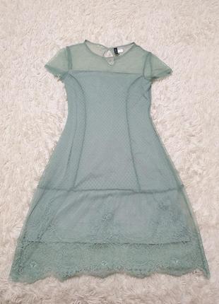 Нежное мятное платье кружево6 фото