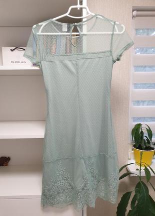 Нежное мятное платье кружево4 фото