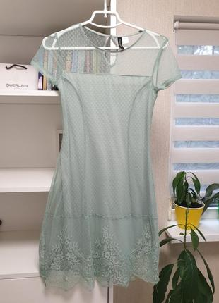 Нежное мятное платье кружево1 фото