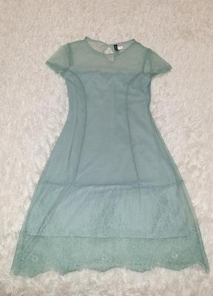 Нежное мятное платье кружево5 фото